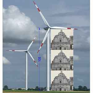 impatto delle pale, una pala di 109 metri è alta, escluso l'elica, come tra grandi chiese, come 4 grandi castagni, ecc... (fotomontaggio dal web)