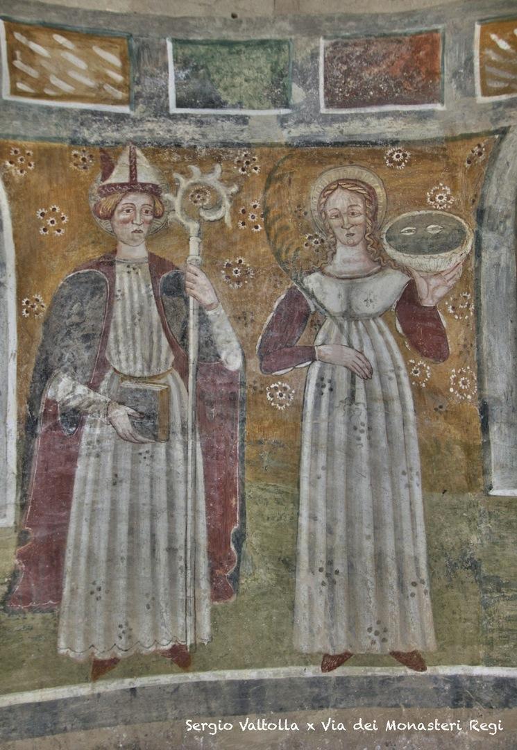 sulla via dei monasteri regi in Mignano di Vernasca; gli affreschi dell'oratorio del secolo XII   ma di antiche origini longobarde...(raffigurati, tra gli altri, San Geminiano e Santa Lucia)