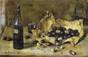 11-castagne-e-vino-1976-olio-su-tavola-cm-40x60
