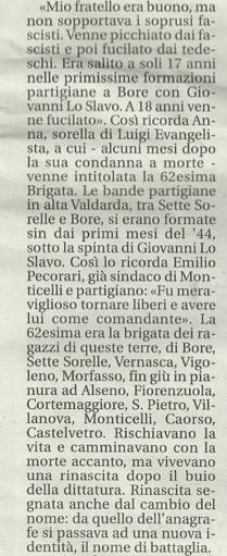 testimonianza della sorella di Luigi Evengelista e di Emilio Pecorari, partigiano.