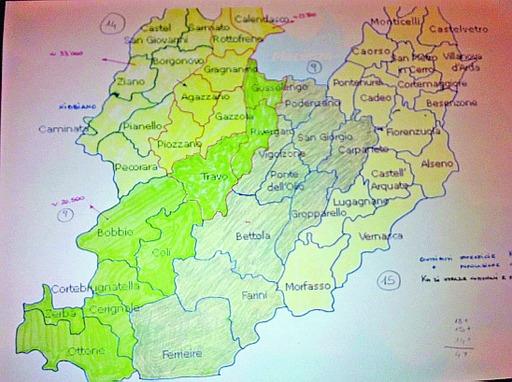schizzo della cartina della provincia di piacenza